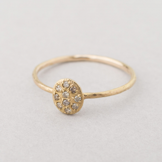 small disc with diamonds ring
