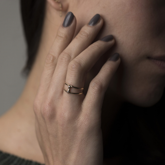 double ring with two diamonds