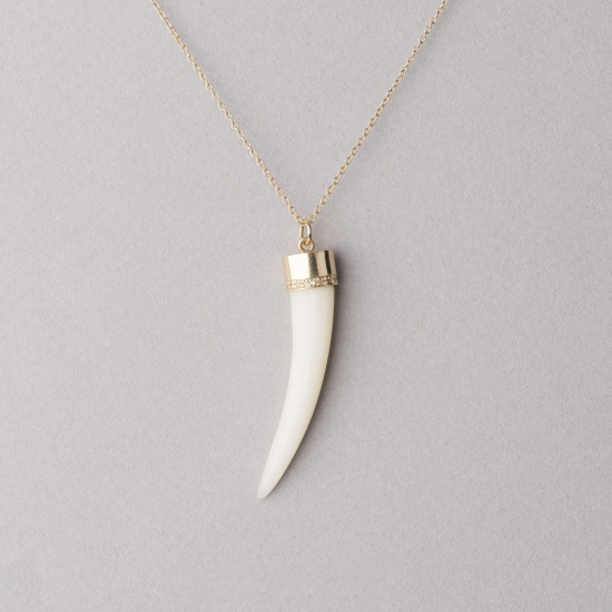 diamond setting bone necklace
