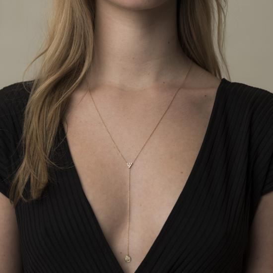 diamond pyramid& pave disc necklace