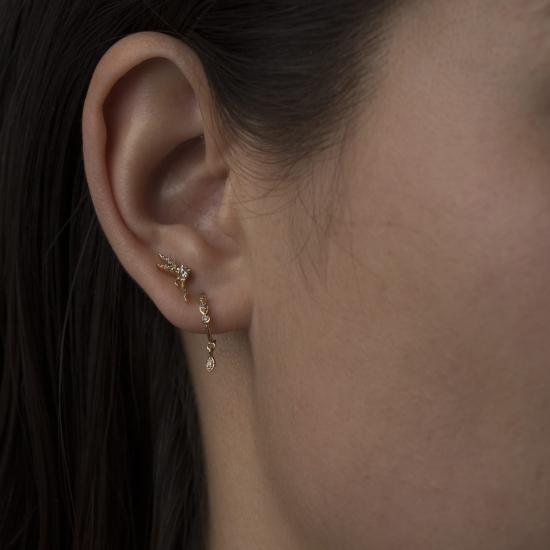 small hoops earring set small eyes & diamonds