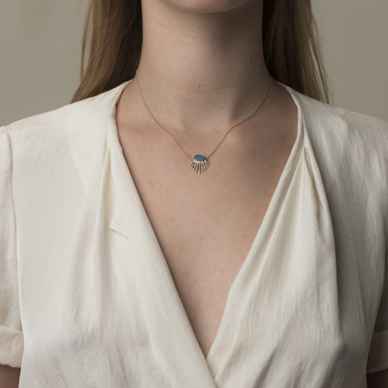 blue opal doublet necklace
