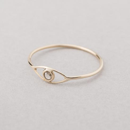 Rose cut diamond eye ring