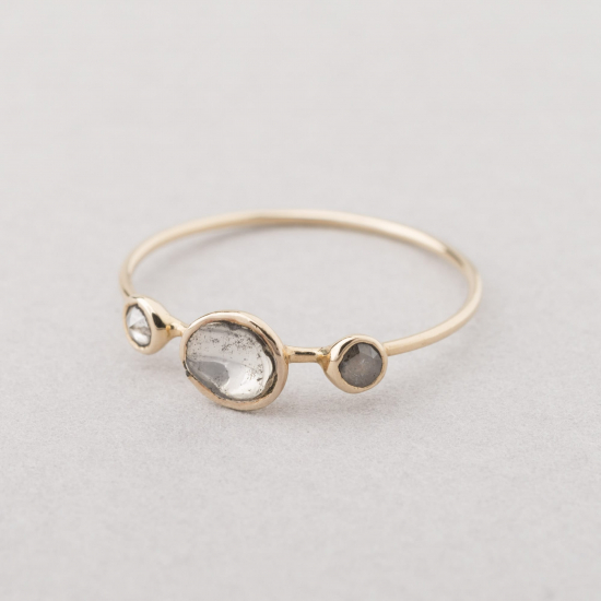 Three polki diamond ring